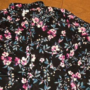 ELLE Long Sleeve Button Down Pink Black Blouse XL